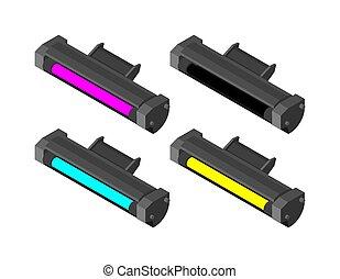 Printer toner cartridge CMYK set. Cyan and Magenta. Yellow ...