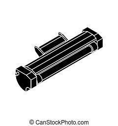 Printer toner cartridge isolated. ink Laser Jet printer