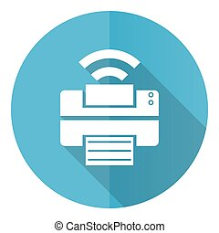Printer vector icon, flat design blue round web button isolated on white background