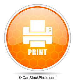 Printer web icon. Round orange glossy internet button for webdesign.