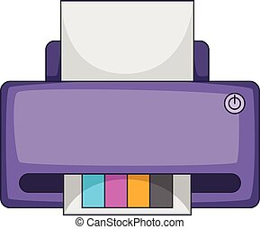Printer with CMYK colored paper icon cartoon style
