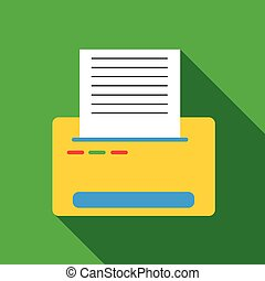 Printer with paper icon, flat style