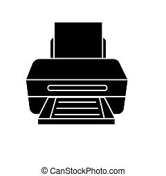 printer with paper icon, vector illustration, black sign on isolated background