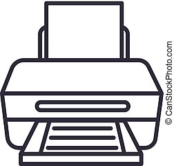 printer with paper vector line icon, sign, illustration on background, editable strokes