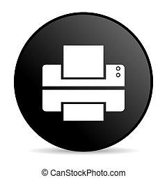 printer, zwarte cirkel, web, glanzend, pictogram