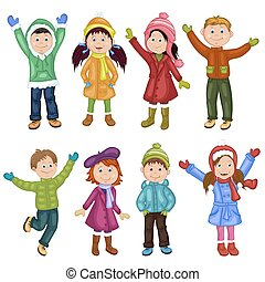 PrintHappy children in winter clothes