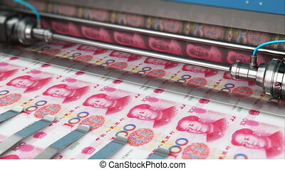 Printing 100 Chinese yuan money banknotes - Business...