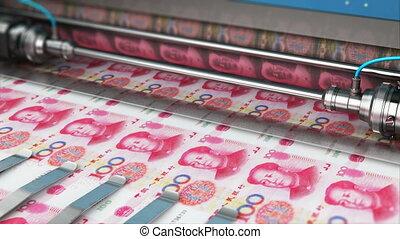 Printing 100 Chinese yuan money banknotes