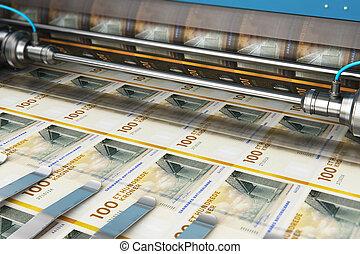 Printing 100 DK Danish krona money banknotes