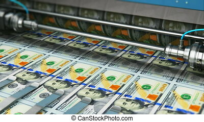 Printing 100 US dollar USD money banknotes - Business...