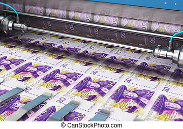 Printing 20 SEK Swedish krona money banknotes