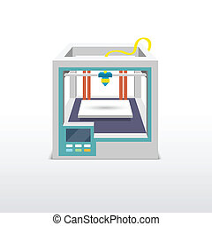 Printing machine 3d printer technical innovation model prototype vector illustration