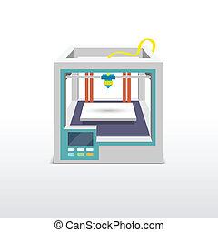 Printing machine 3d printer technical innovation model prototype vector illustration