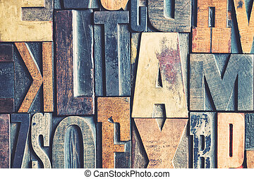 A background of vintage letterpress blocks