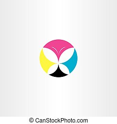 printing cmyk butterfly icon logo vector
