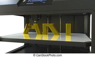 Printing golden ART text with a 3D printer, metal printing...