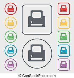 Printing icon sign. symbol on the Round and square buttons with frame. Vector