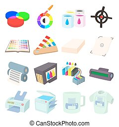 Printing icons set in cartoon style
