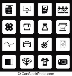 Printing icons set in simple style