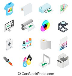 Printing icons set, isometric 3d style