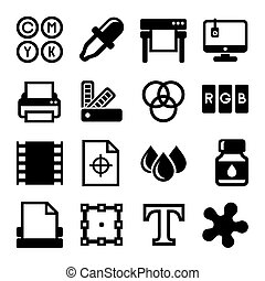 Printing Icons Set on White Background. Vector