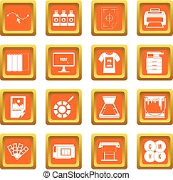 Printing icons set orange