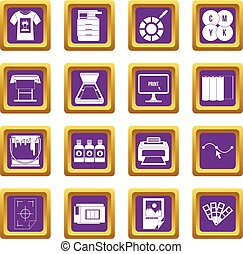 Printing icons set purple