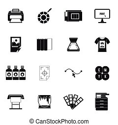 Printing icons set, simple style