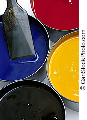 Printing inks - Tubs of printing press inks, cyan, magenta,...