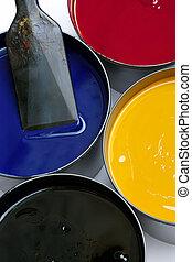 Printing inks - Tubs of printing press inks, cyan, magenta,...