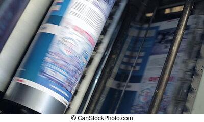 Printing machine passes paper through cylinders