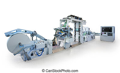 Details of a printing and packaging machines.