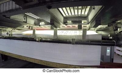 printing mashine - sheetfed offset printing mashine at work