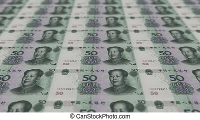 Printing Money Animation, RMB bills.