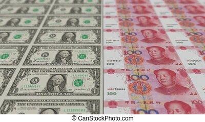 Printing Money Animation,1 dollar and 100 RMB bills,depth.