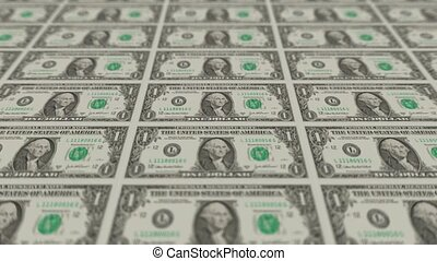 Printing Money Animation,1 dollar bills