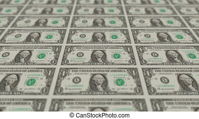 Printing Money Animation,1 dollar