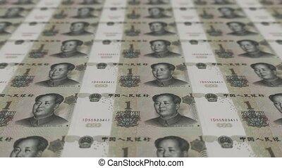 Printing Money Animation,1 RMB bills.