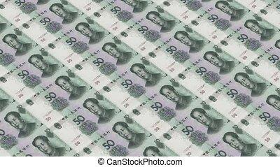Printing Money Animation,50 RMB bills.