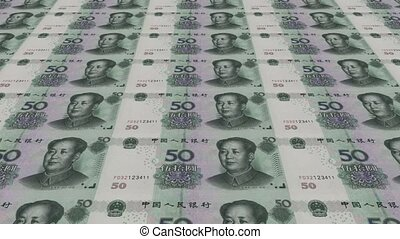 Printing Money Animation,RMB bills.