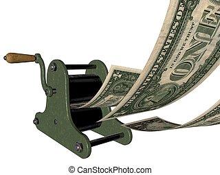 Printing money on hand press - 3D illustration of making...