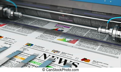 Printing newspapers in typography - 3D render video of...