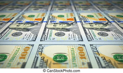 Printing of 100 dollar banknotes