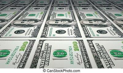Printing of 100 dollar bills - Rotating glass Earth globe