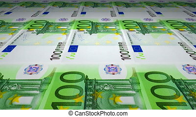 Printing of 100 Euro banknotes - Rotating glass Earth globe