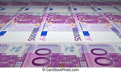 Printing of 500 Euro banknotes - Seamless loop of 500 Euro...
