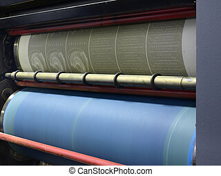 printing plate in a offset printing press - printing plate...