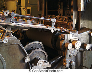 Printing Press 01 - Old printing press with cogs, bars,...