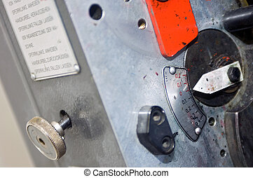 Printing press controls - A close up of the controls and...