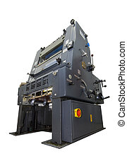 printing press isolated on white - A printing press,...